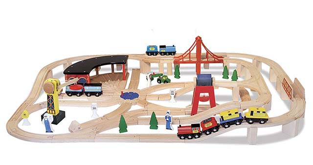 photo of a kids play wooden railway set