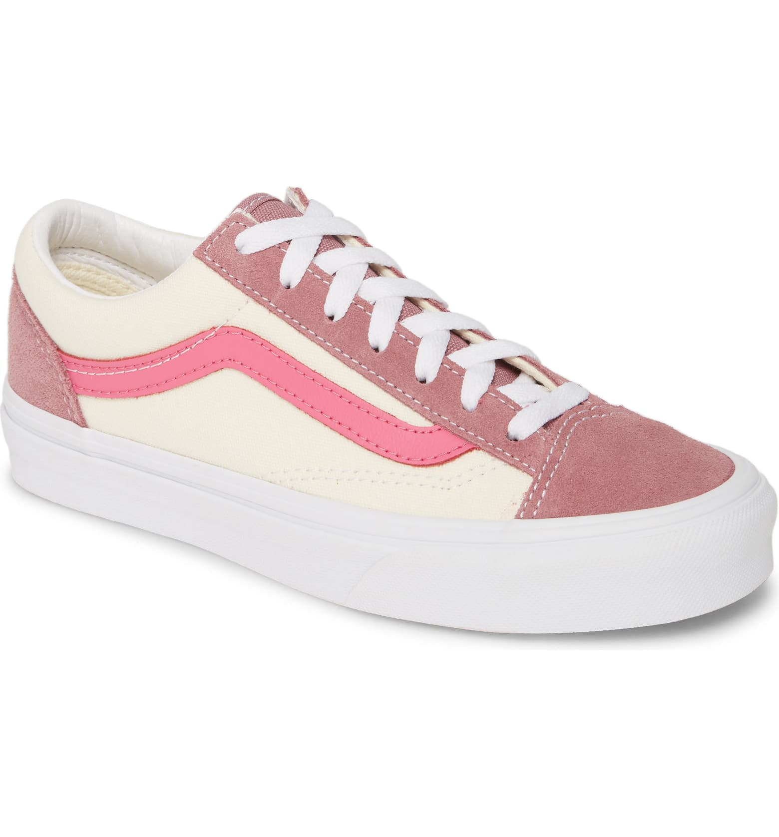 pink and white vans sneaker