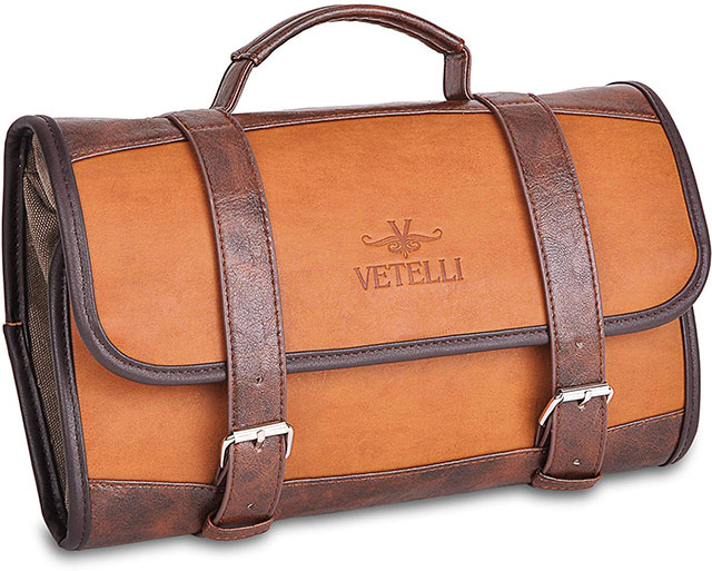 photo of a brown leather toiletry bag