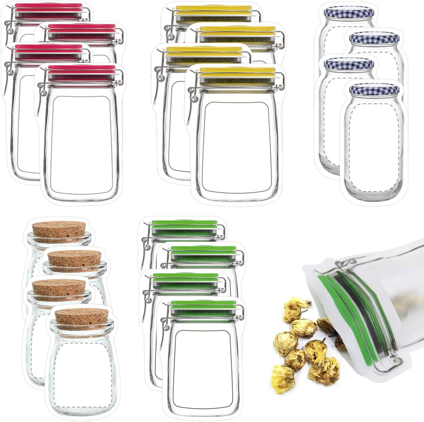 Several jar shaped plastic zipper bags