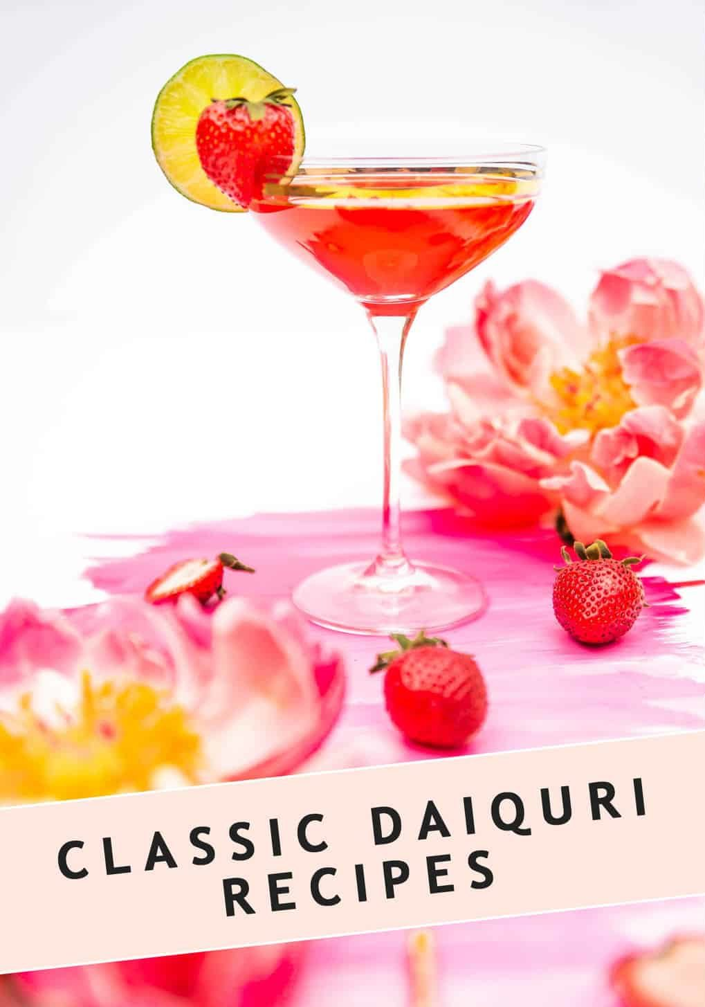 photo of the classic strawberry daiquiri recipe by top Houston lifestyle blogger Ashley Rose of Sugar & Cloth