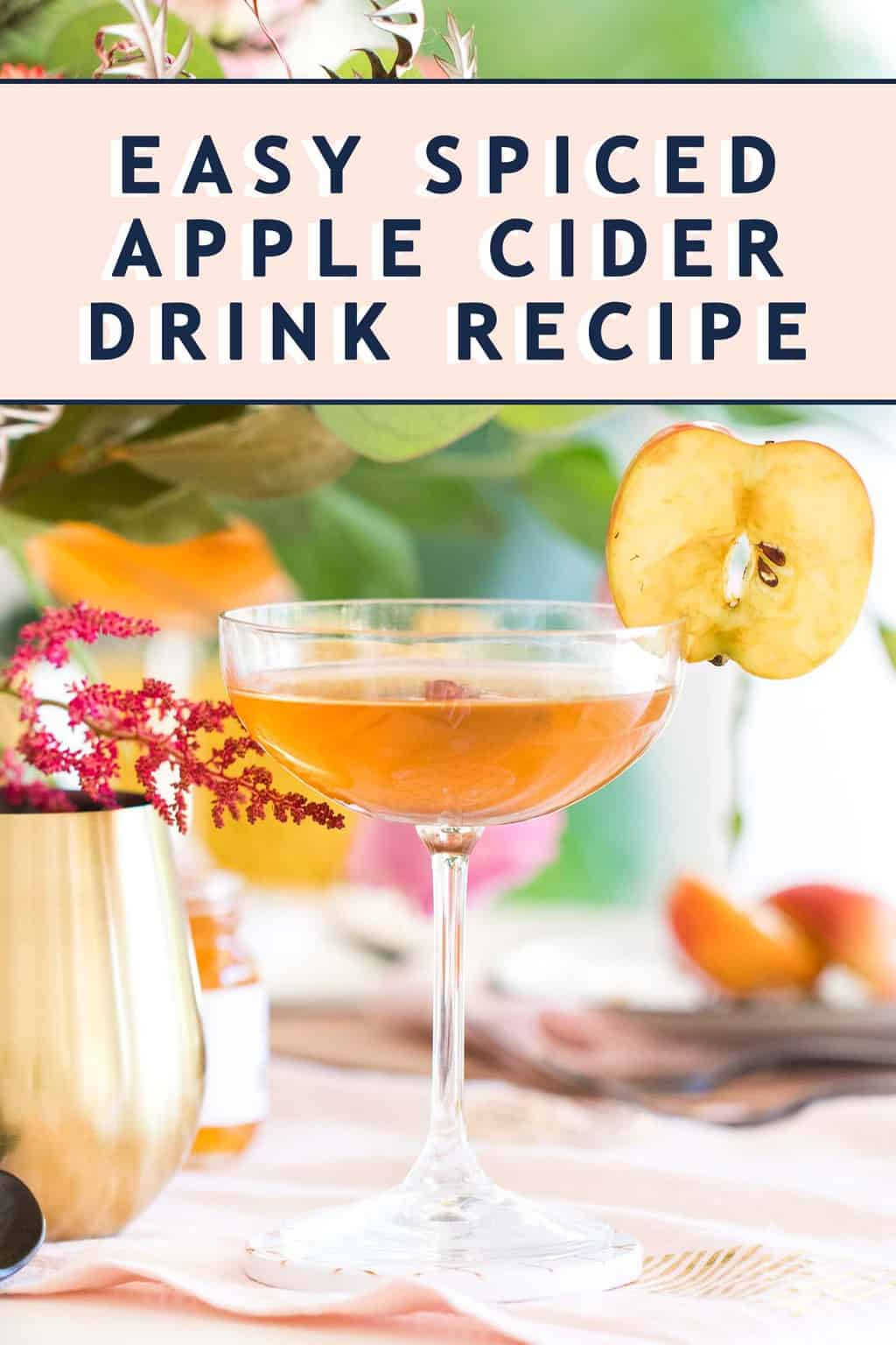 Photo of the Easy Spiced Apple Cider Cocktail drink recipe by top Houston lifestyle blogger Ashley Rose of Sugar & Cloth