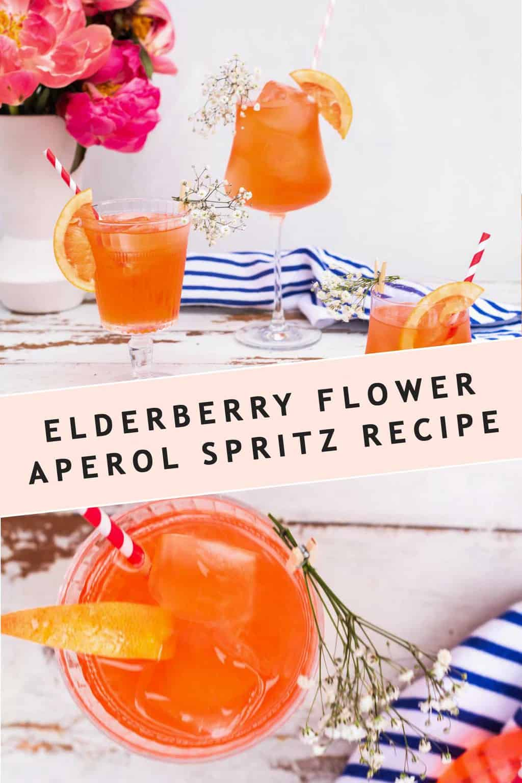 photo of editorial shots of the Elderflower Aperol Spritz cocktail recipe card by top Houston lifestyle blogger Ashley Rose of Sugar & Cloth