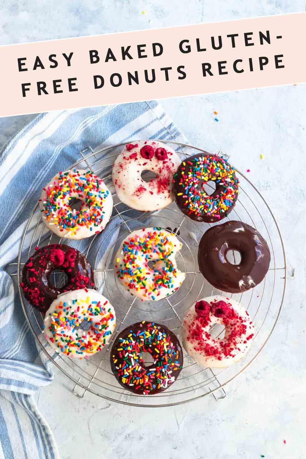 photo for of the recipe card to make the gluten free donuts recipe by top Houston lifestyle blogger Ashley Rose of Sugar & Cloth