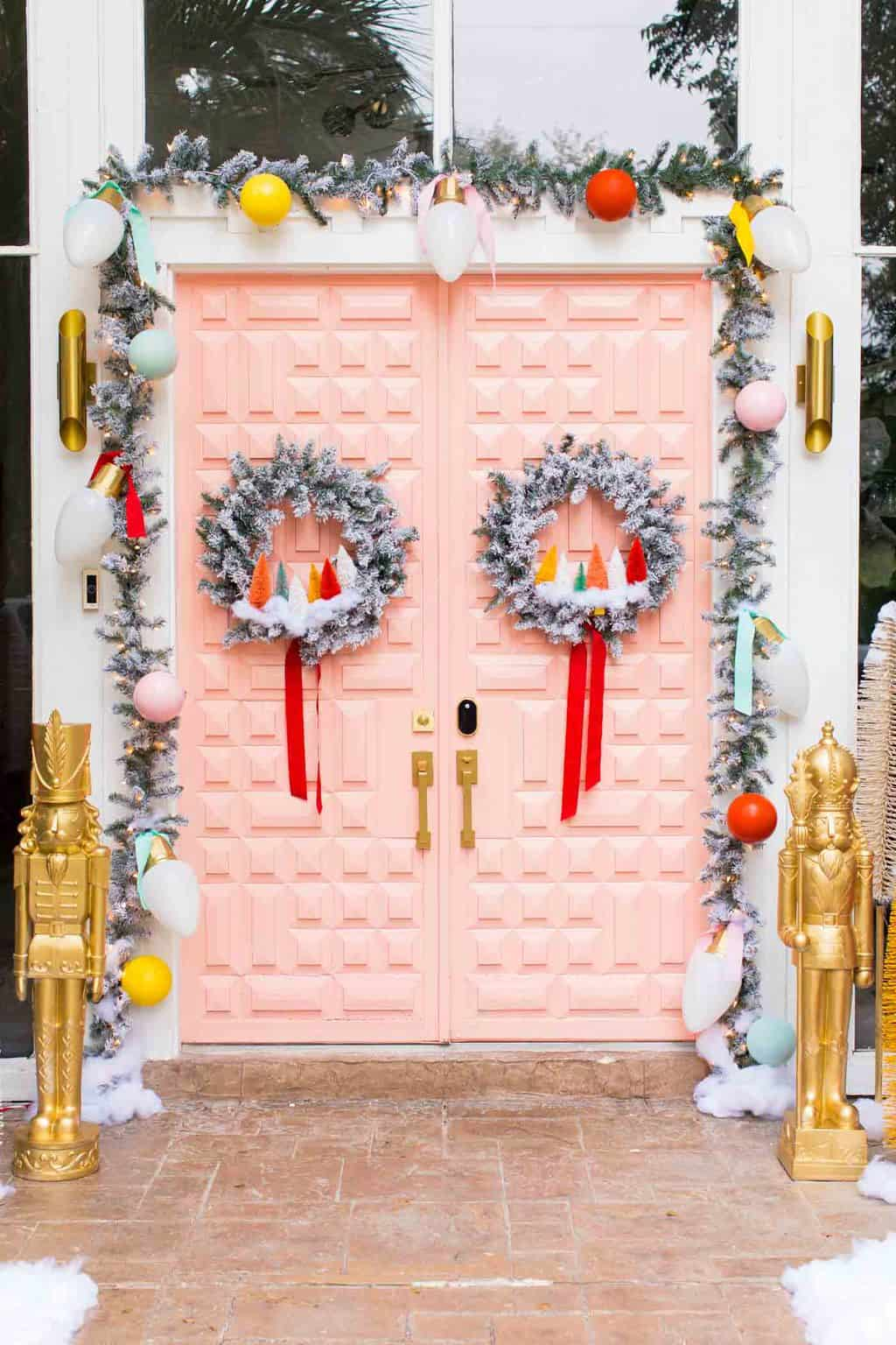 double pink door front door christmas decorations