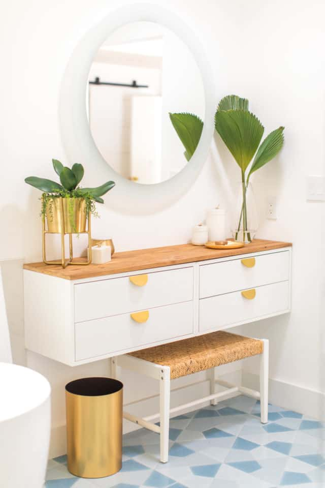 photo of a completed diy dressing table ikea vanity hack