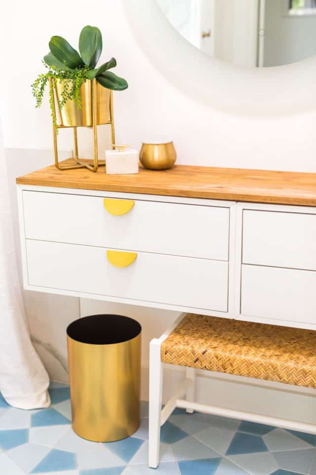 drawers on a diy vanity dressing table