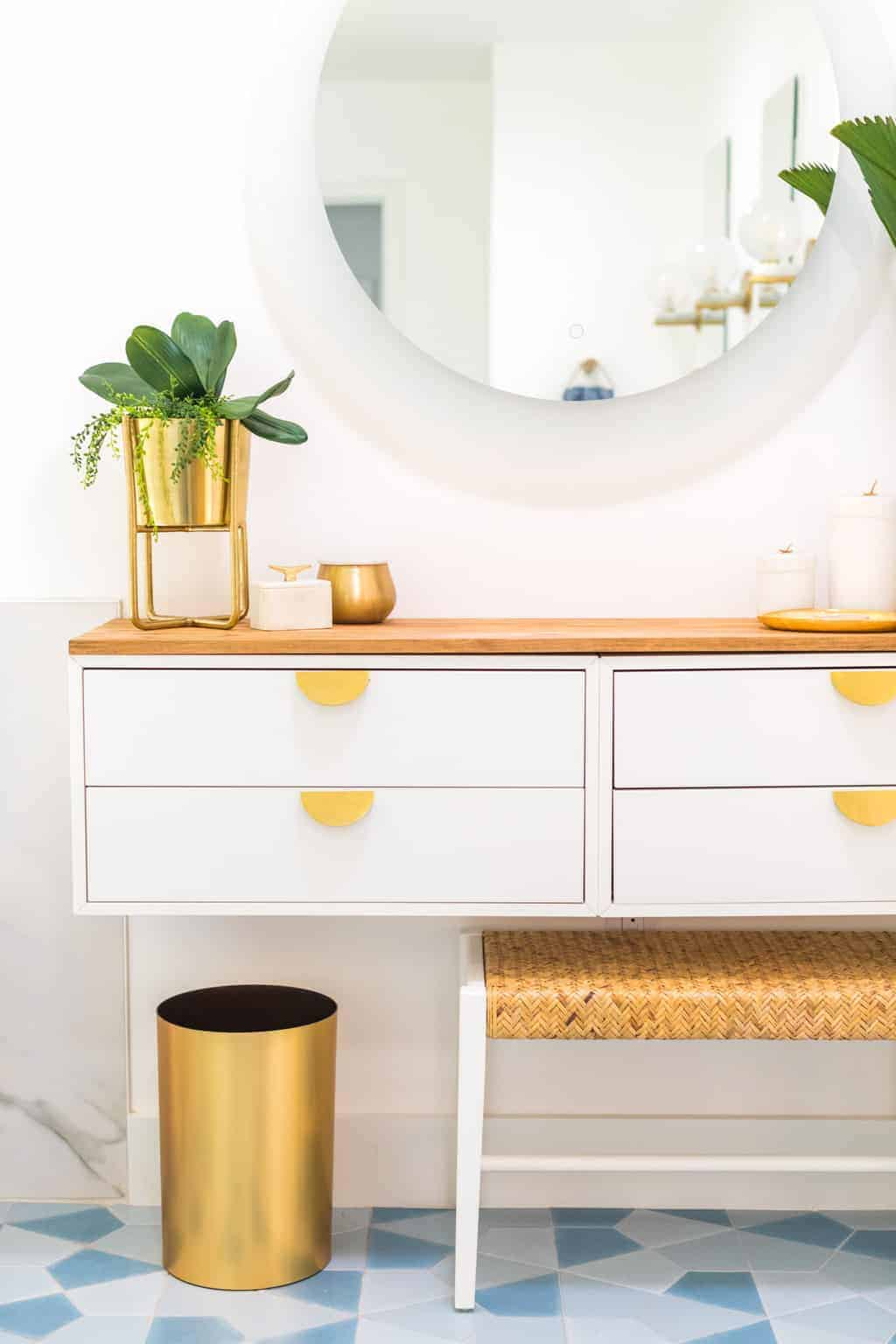 photo of the details on a diy dressing table