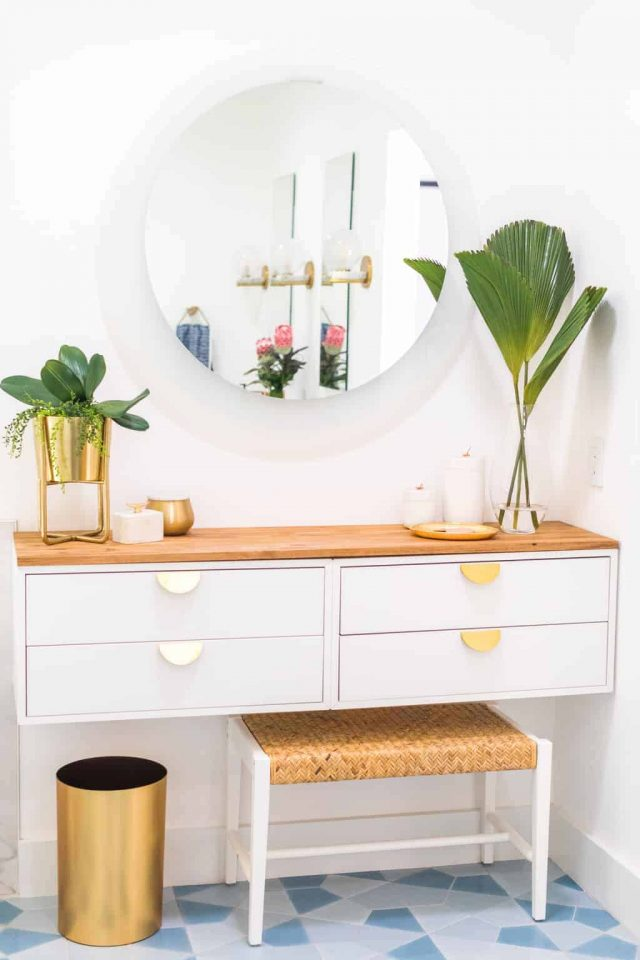 photo of a finished diy dressing table ikea vanity