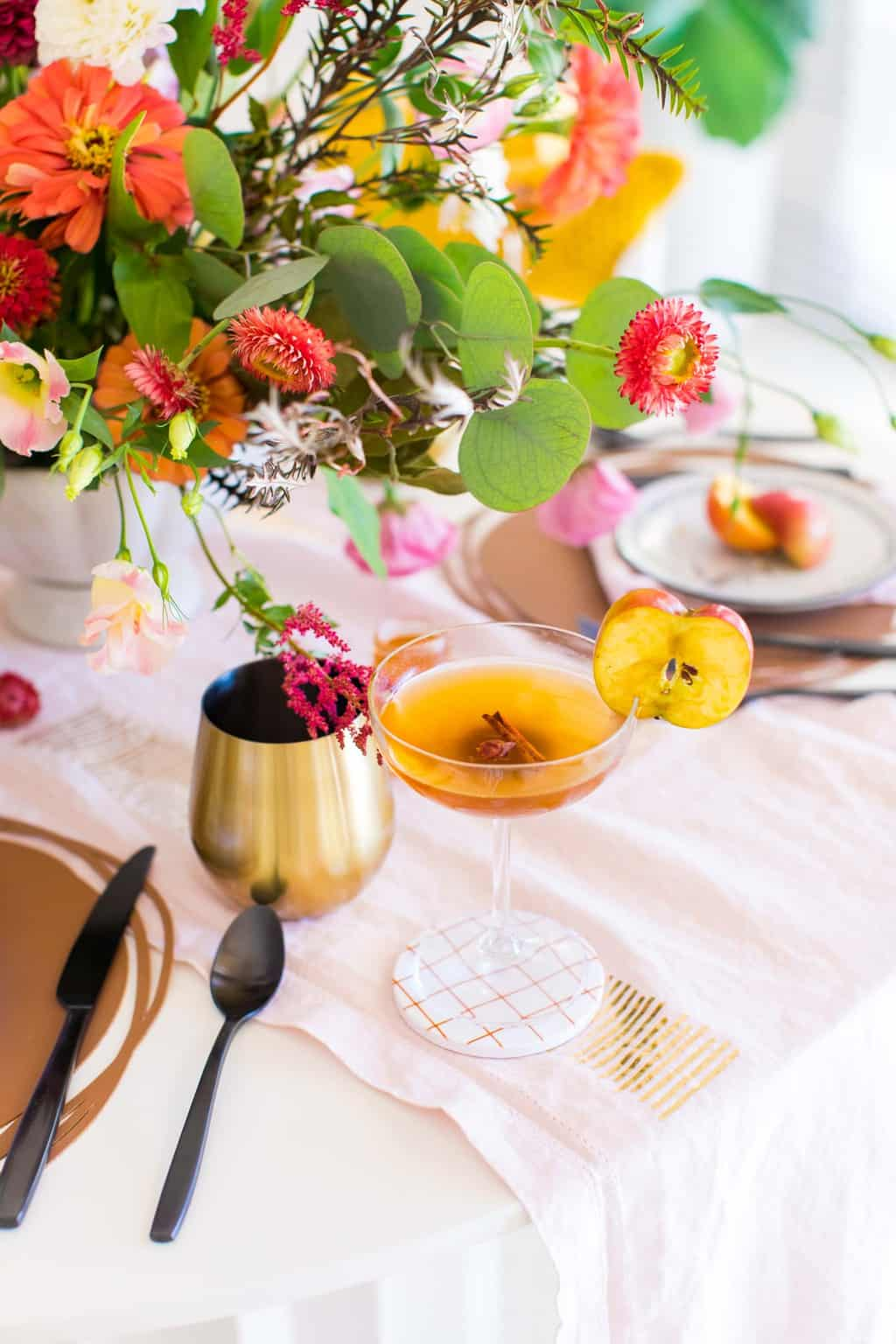 photo of the Easy Spiced Apple Cider Cocktail drink on our fall table decor by top Houston lifestyle blogger Ashley Rose of Sugar & Cloth