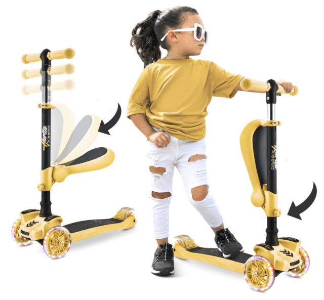 photo of a girl on a yellow 2-in-1 scooter