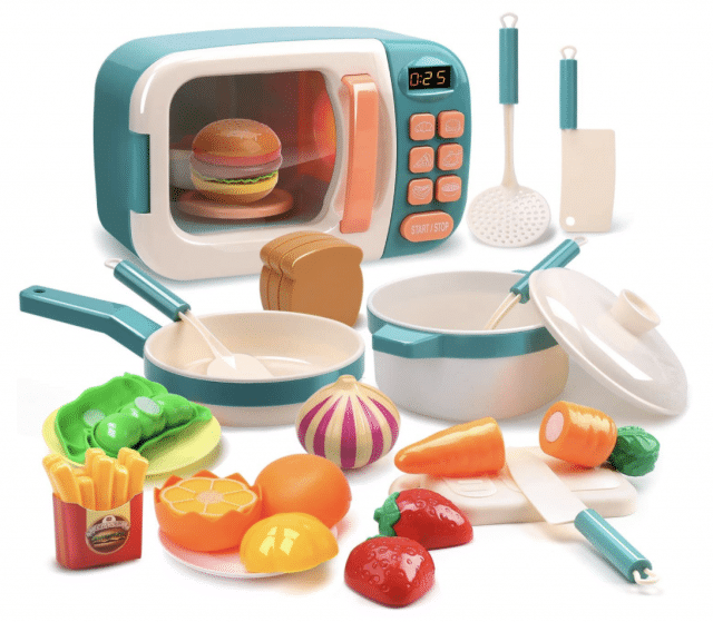 kids cooking play set with fake microwave