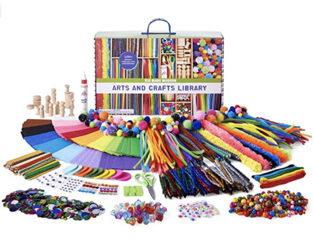 a photo of the all of the contents from a kids art kit