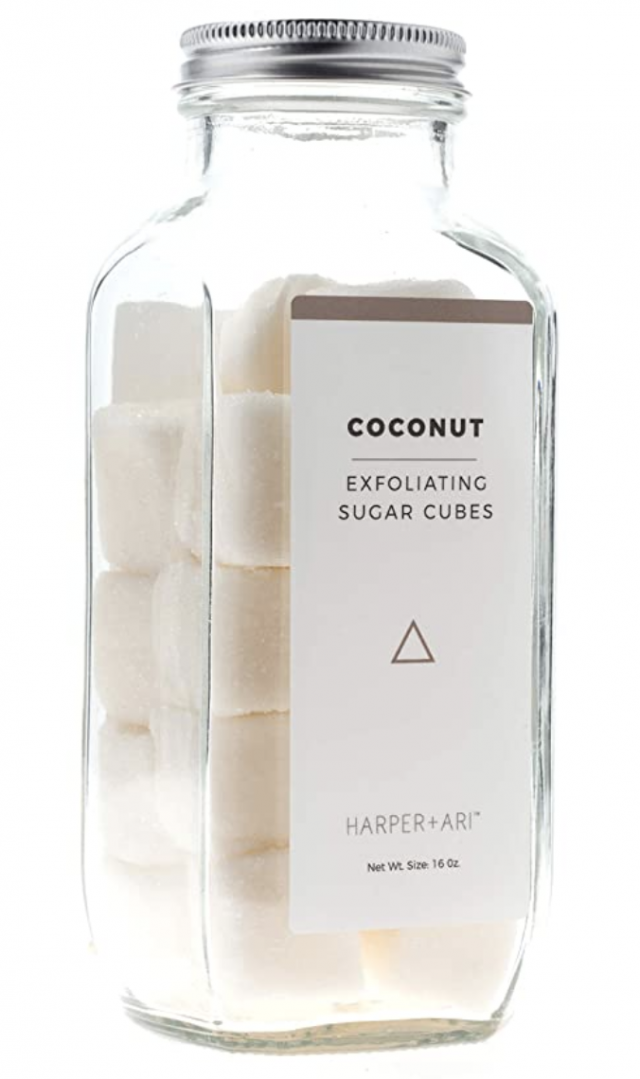 glass jar of coconut white exfoliating sugar cubes gift for her