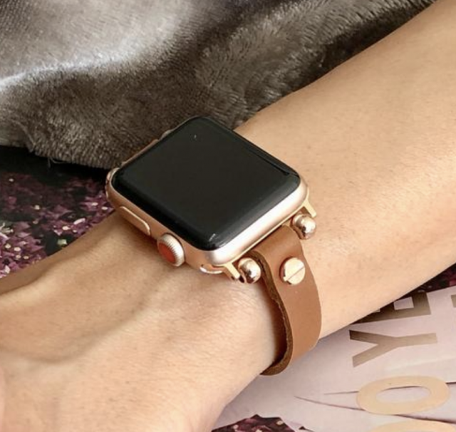 thin leather and gold apple watch bracelet band as a gift for women