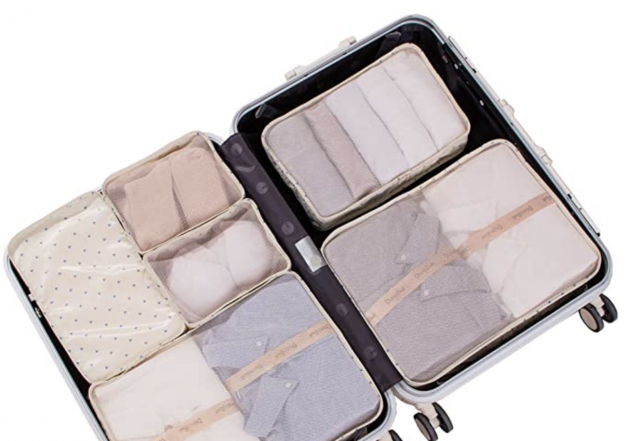 photo of luggage organizers in a suitcase
