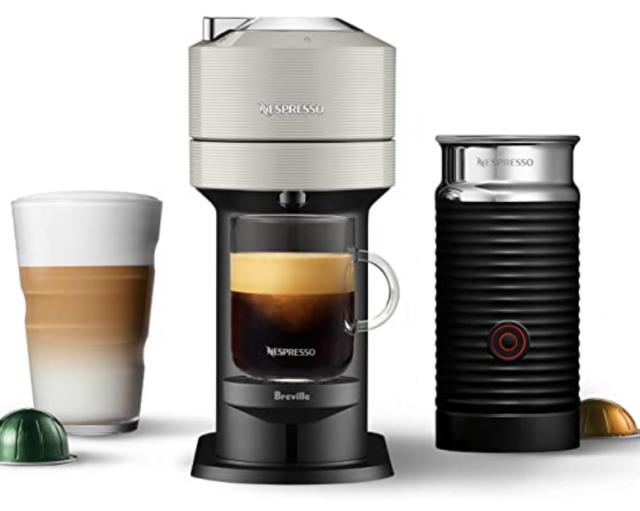photo of a tan nespresso coffee machine gift set
