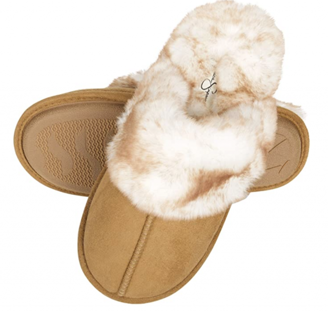 tan and fur house slippers by jessica simpons