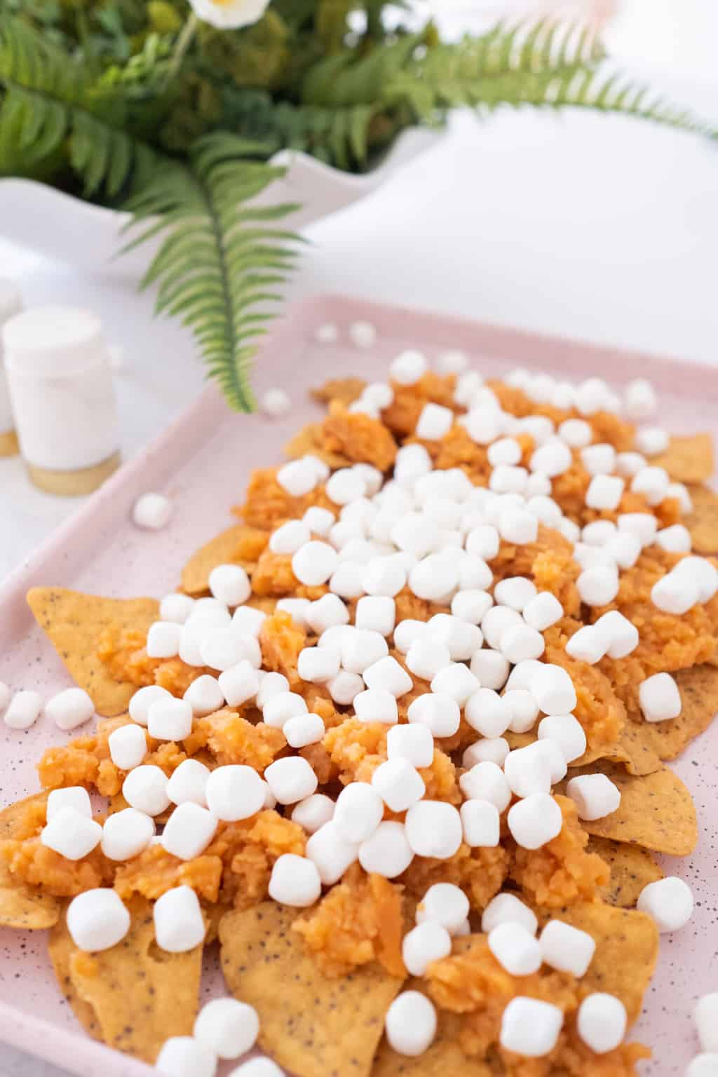 photo of the marshmallow toppings in the Sweet Potatoes Nacho recipe by top Houston lifestyle blogger Ashley Rose of Sugar & Cloth
