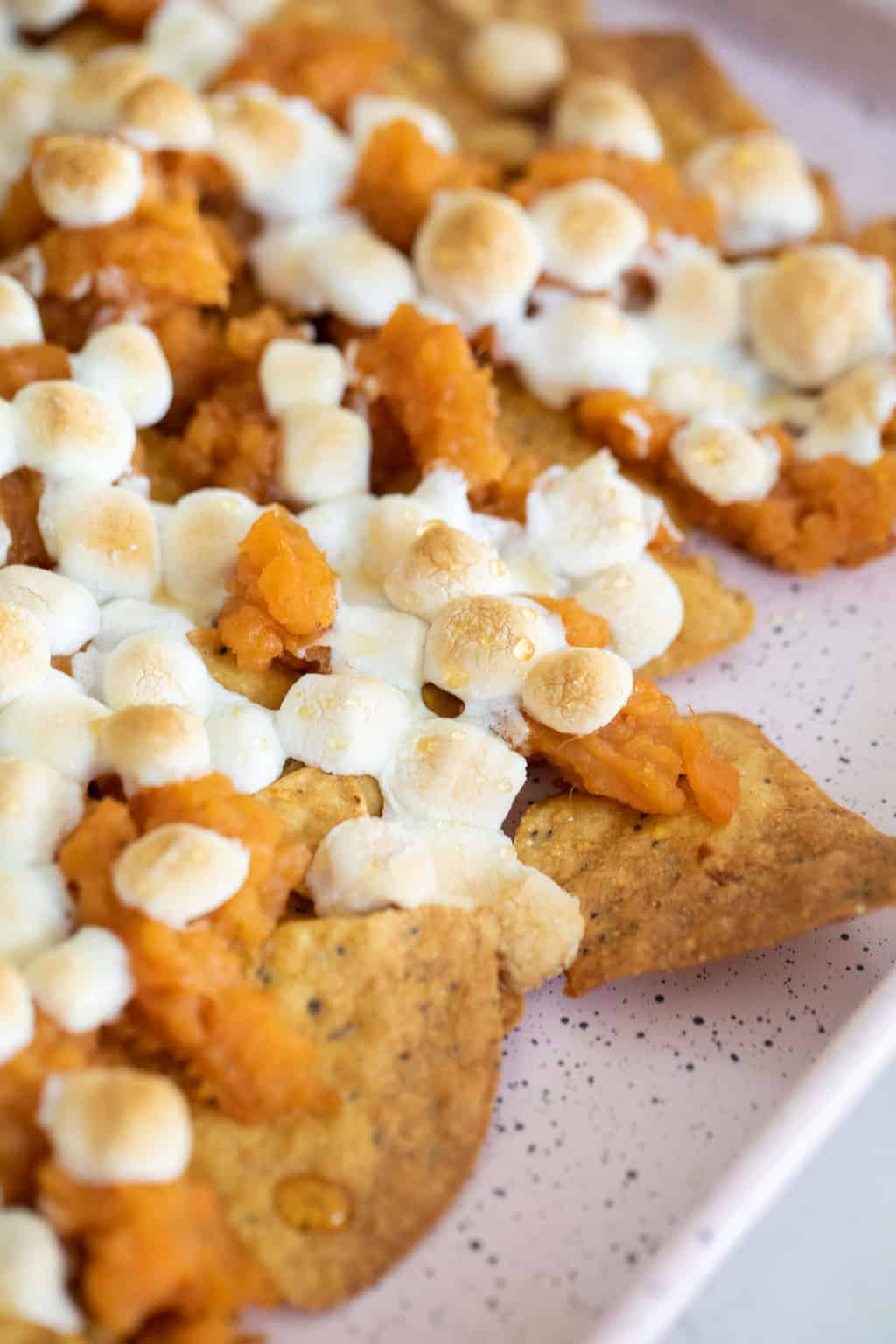 closeup photo of the sweet potatoes nachos recipe by top Houston lifestyle blogger Ashley Rose of Sugar & Cloth