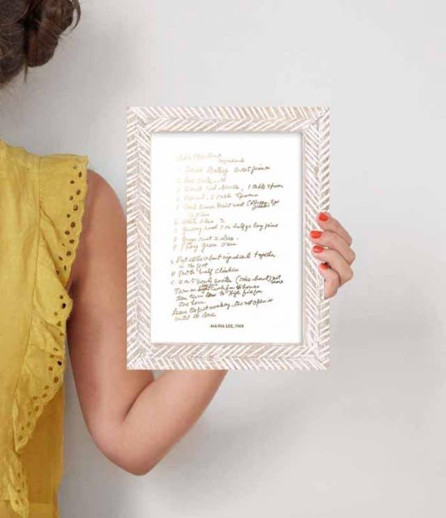 custom gold foil recipe card keepsake gift idea