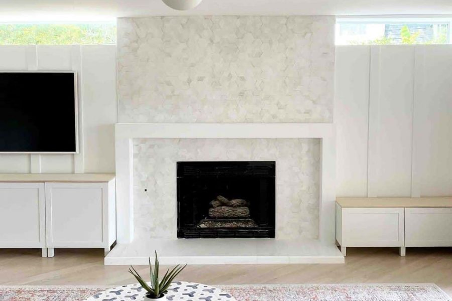 photo of a modern marble fireplace