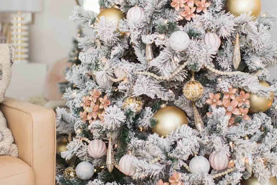 pink and gold christmas tree decorations