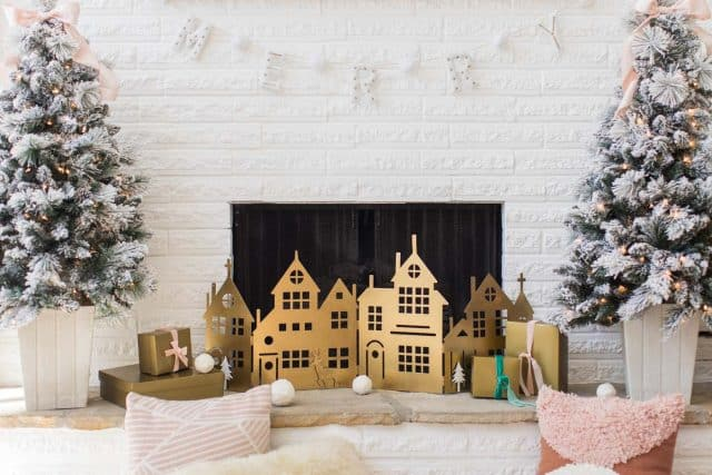 horizontal photo of a christmas fireplace screen