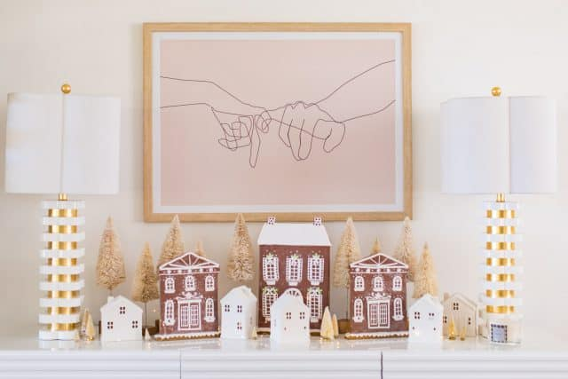 photo of a pinky swear art print and gingerbread houses