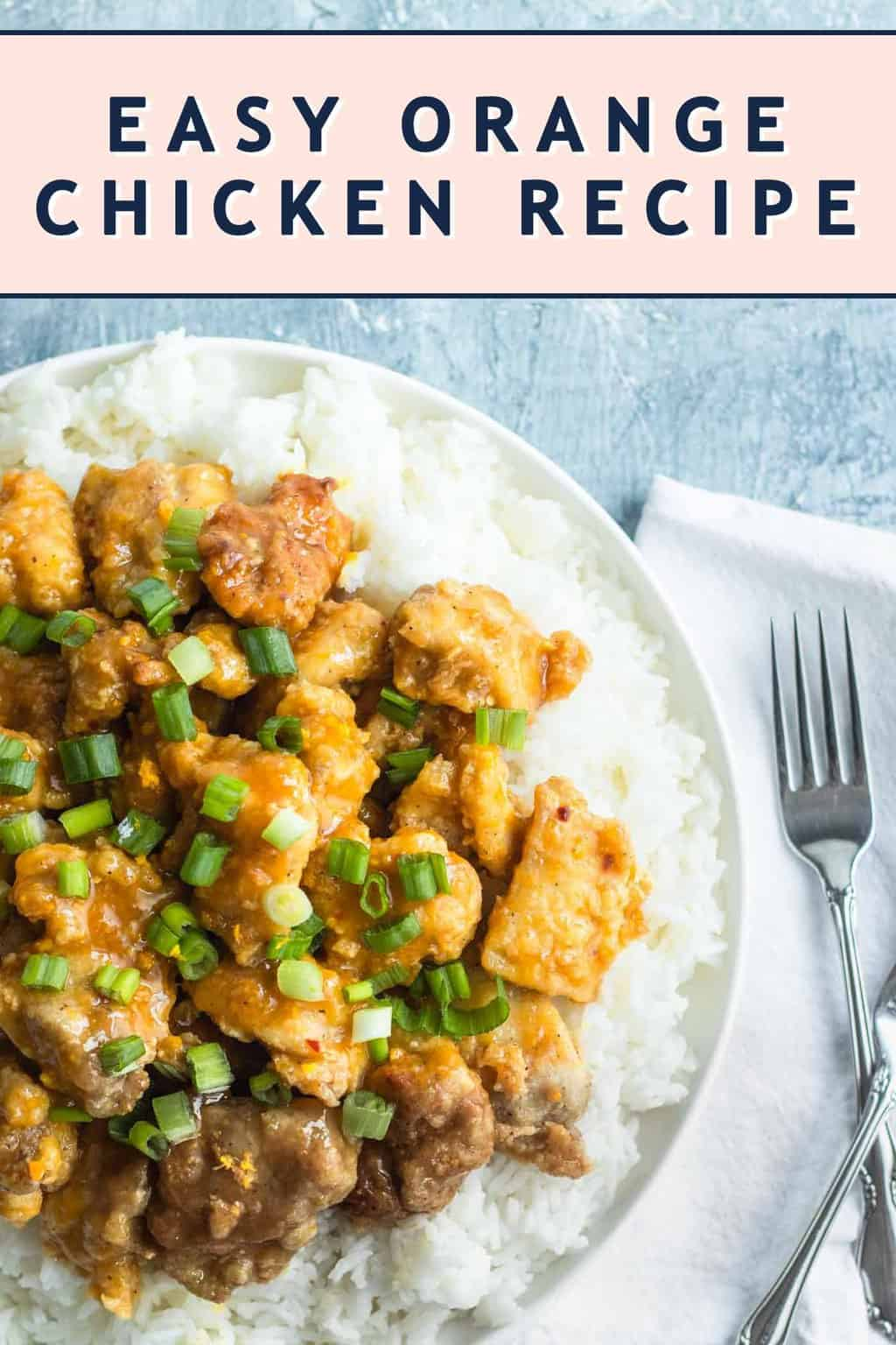 photo of the recipe card for the easy orange chicken by top Houston lifestyle blogger Ashley Rose of Sugar & Cloth