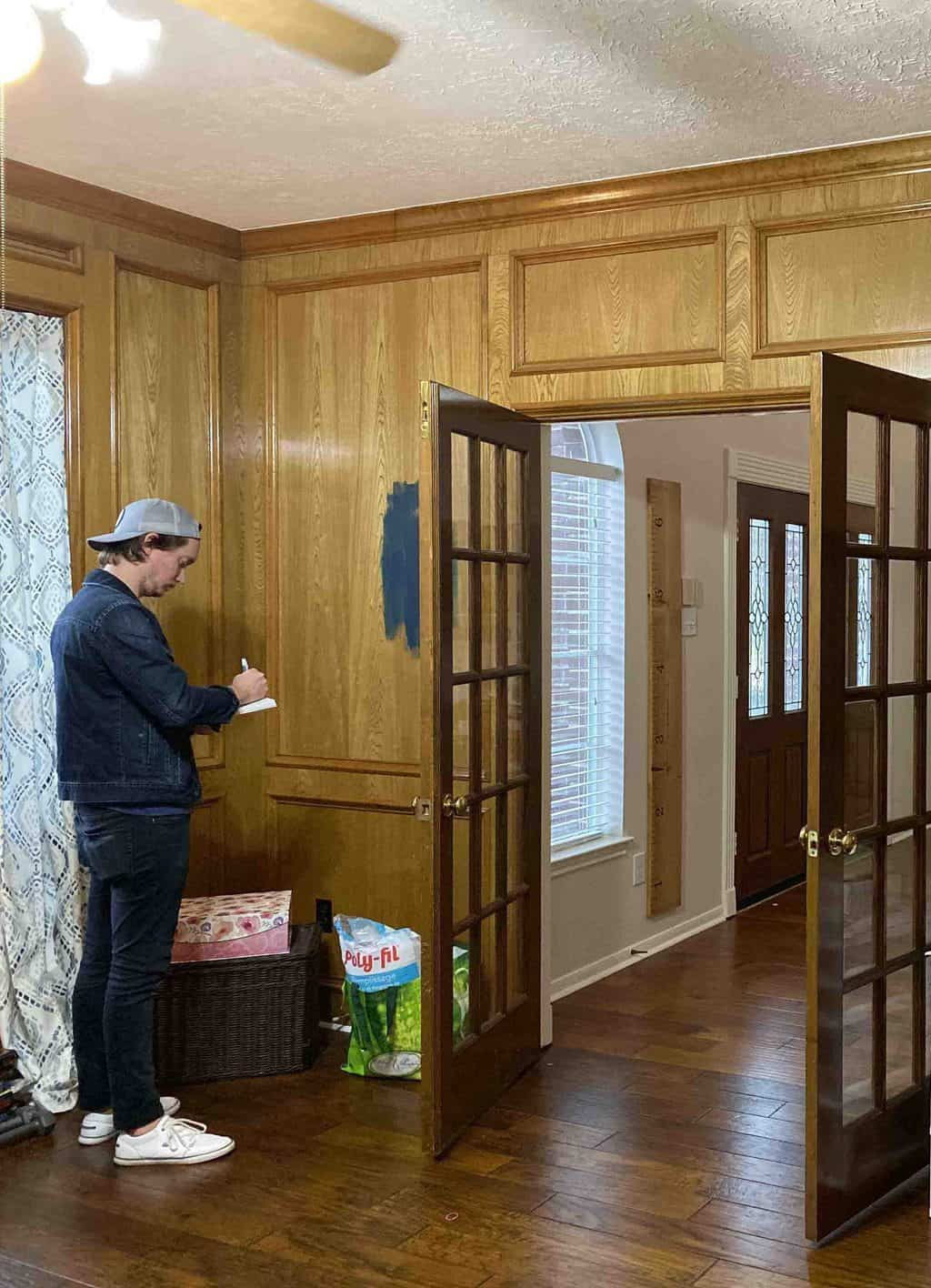before photo of measuring a home office