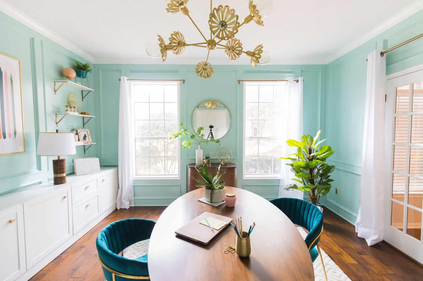 horizontal photo of a before and after home office design