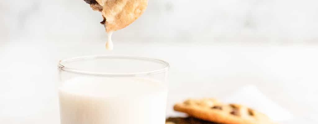 photo of the best chocolate chips being dipped in milk