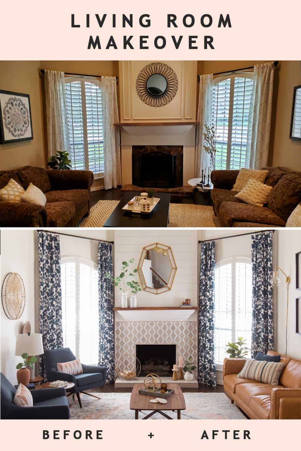 photo of the before and after living room makeover by top Houston lifestyle blogger Ashley Rose of Sugar & Cloth