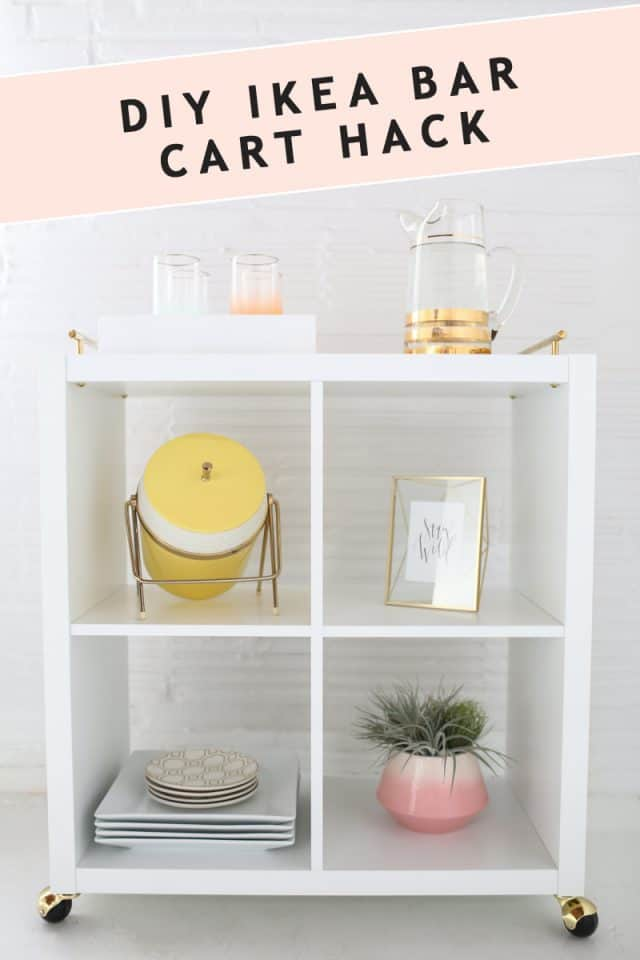 photo of the how to make an ikea bar cart hack by top Houston lifestyle blogger Ashley Rose of Sugar & Cloth