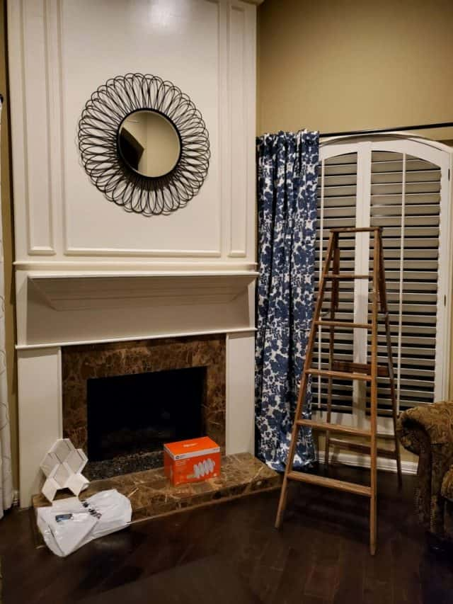 photo of living room fireplace before the makeover by top Houston lifestyle blogger Ashley Rose of Sugar & Cloth
