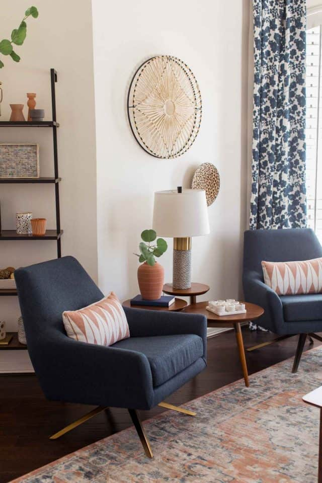 photo of the new couches and decor in the living room makeup by top Houston lifestyle blogger Ashley Rose of Sugar & Cloth