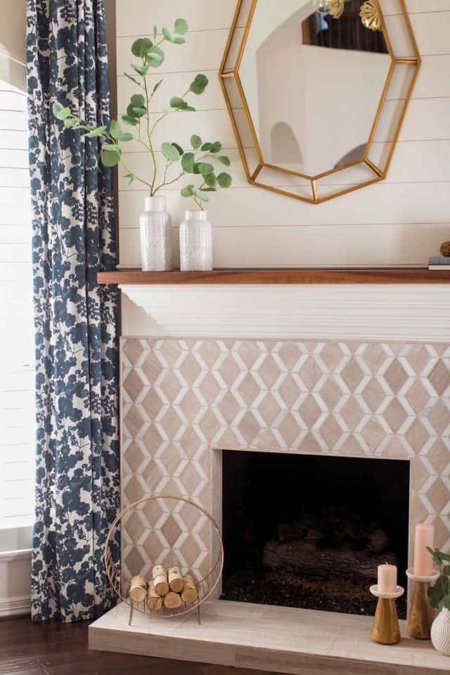 detailed photo of the living room fireplace and mantle after the makeover by top Houston lifestyle blogger Ashley Rose of Sugar & Cloth