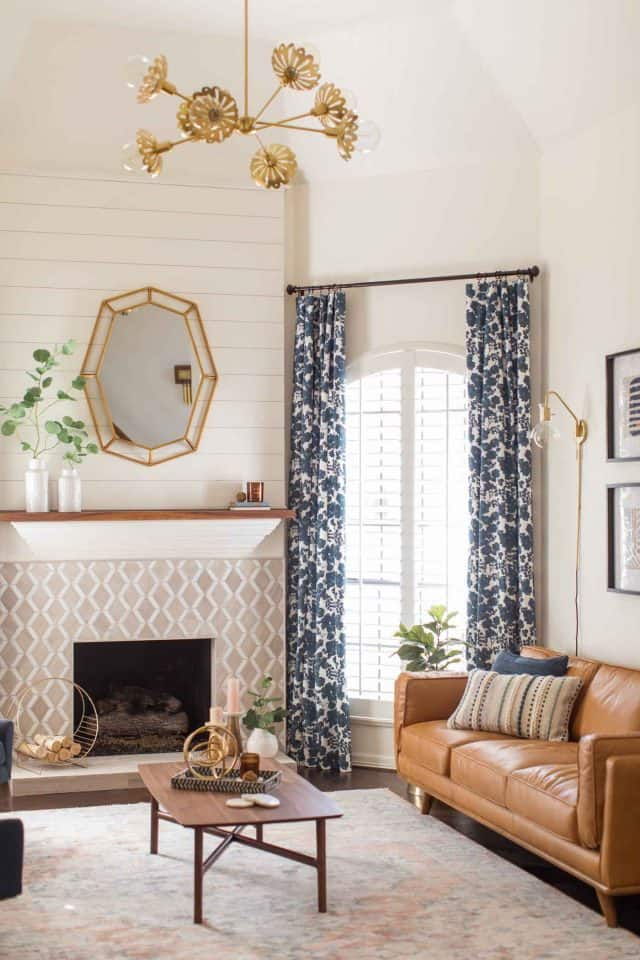 photo of the new rug in the living room makeover