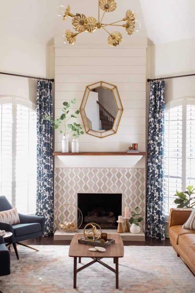 photo of the new curtains in the living room makeover by top Houston lifestyle blogger Ashley Rose of Sugar & Cloth