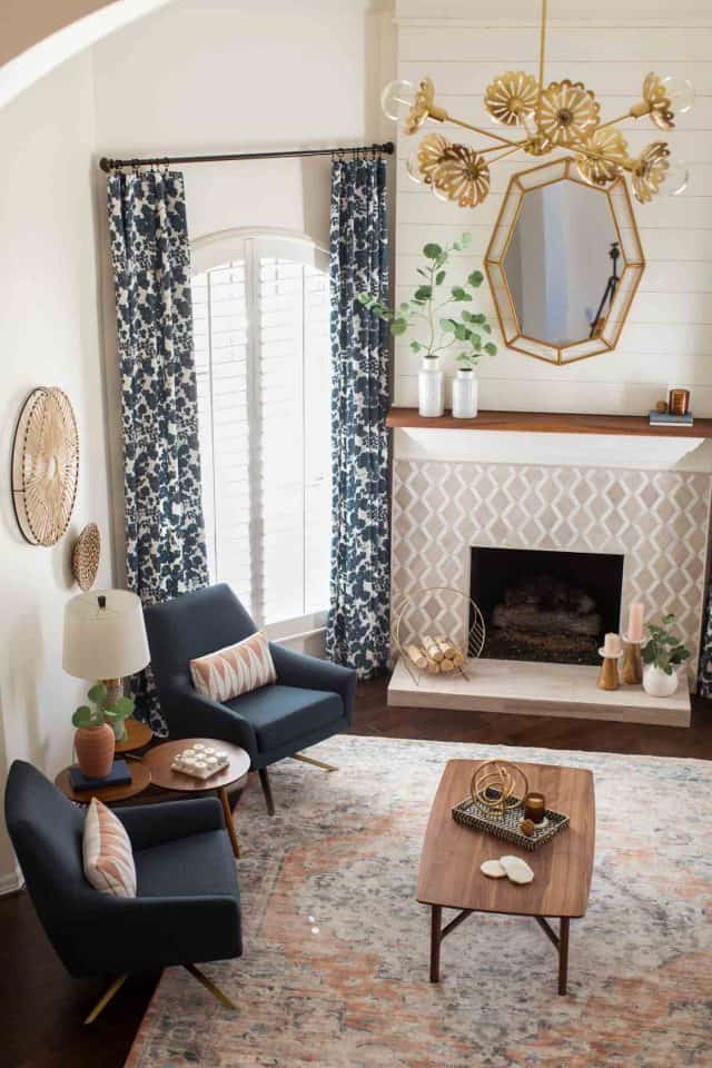 photo of the geometric mirror to turn a living room modern by top Houston lifestyle blogger Ashley Rose of Sugar & Cloth