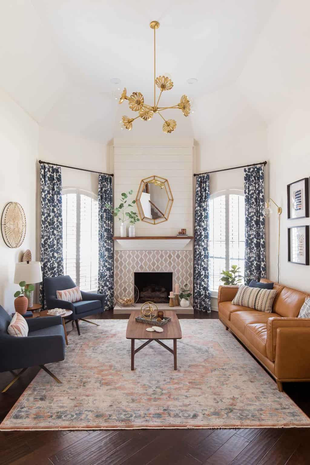 after photo of the finished living room makeover by top Houston lifestyle blogger Ashley Rose of Sugar & Cloth