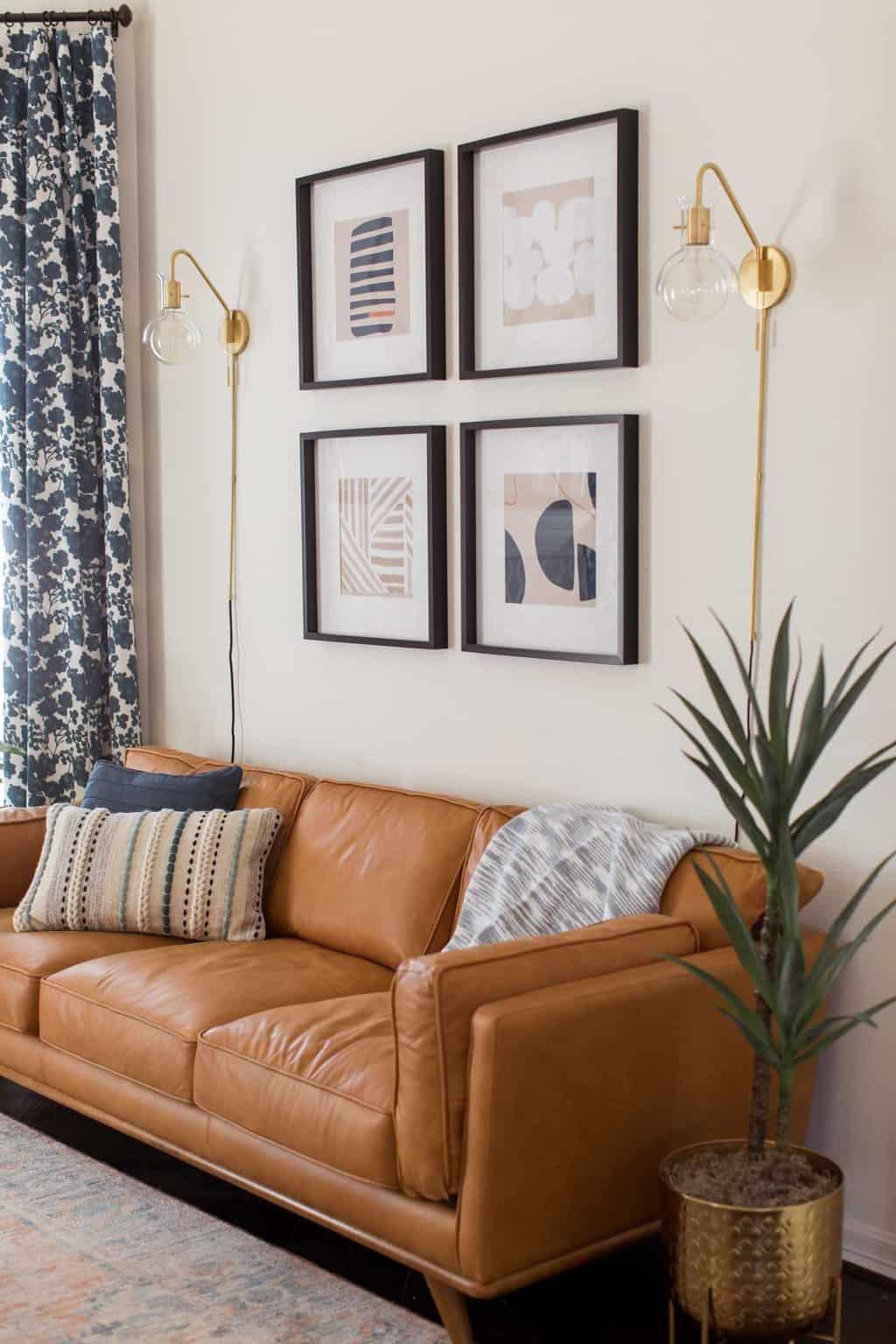 photo of the new modern artwork in the living room makeover by top Houston lifestyle blogger Ashley Rose of Sugar & Cloth