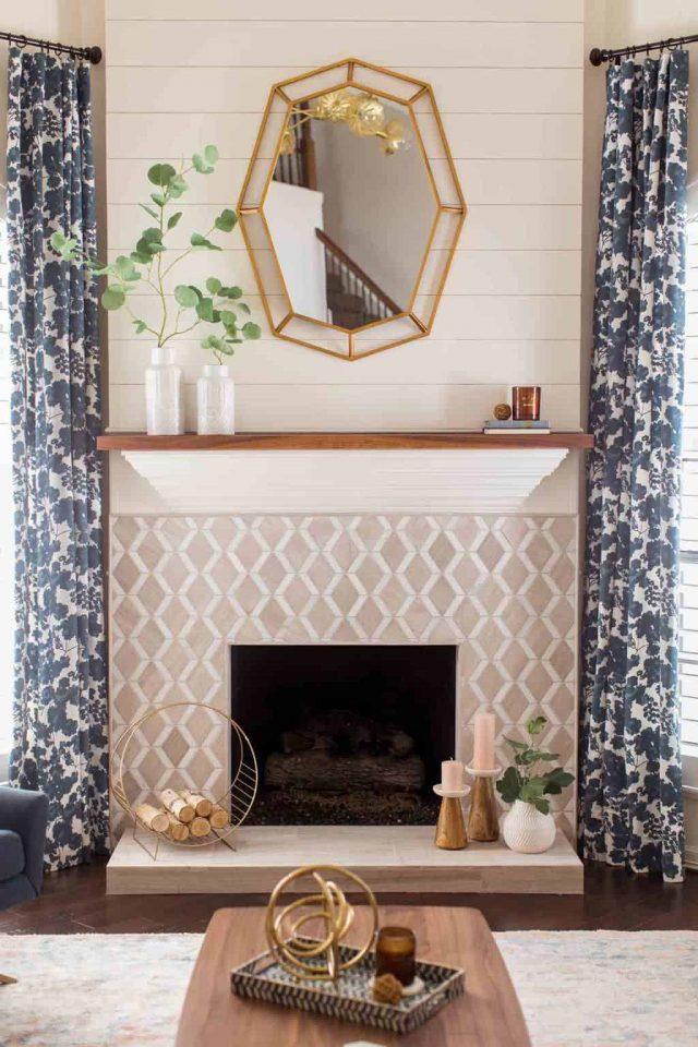 photo of the renovated fireplace and mantle in the living room by top Houston lifestyle blogger Ashley Rose of Sugar & Cloth