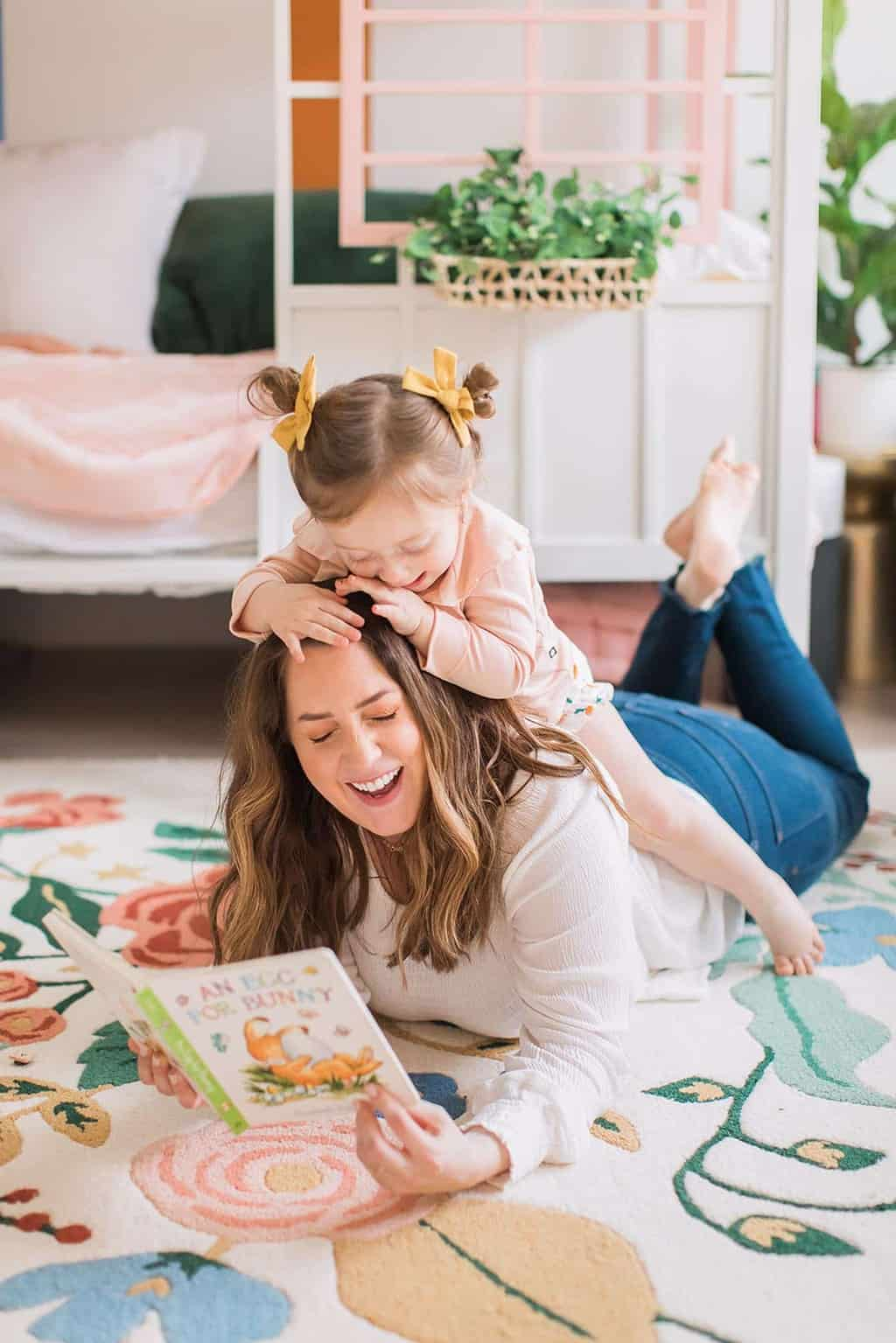 mom and toddler playing