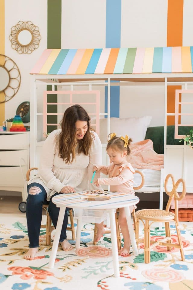 mom and daughter at toddler table