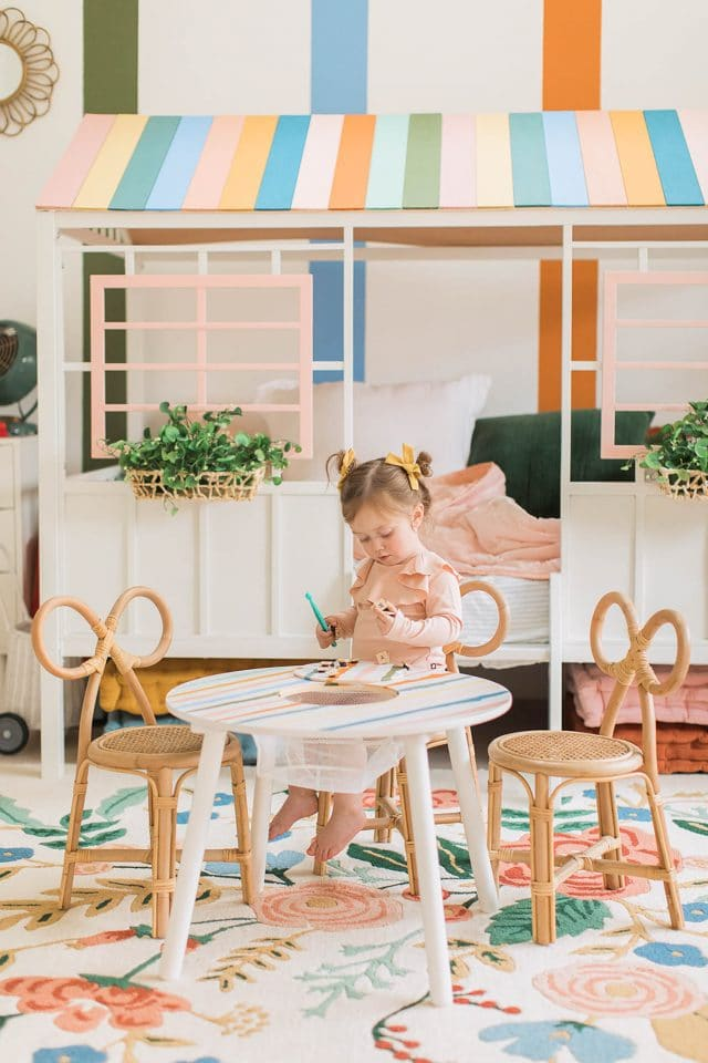 little girl at toddler table