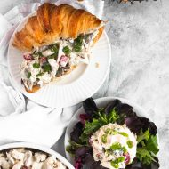 photo of ways to serve the best chicken salad as a sandwich or with greens by top Houston lifestyle blogger Ashley Rose of Sugar & Cloth