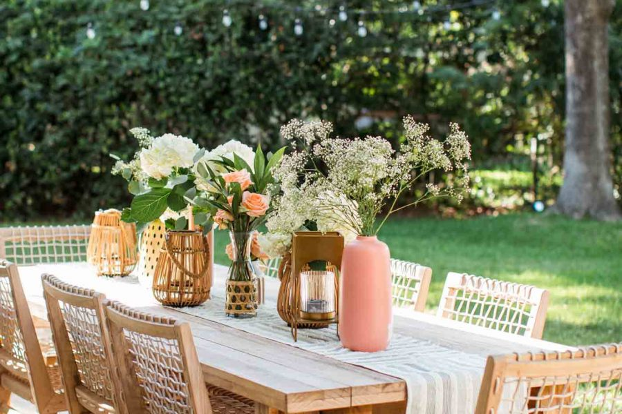 a final dinner al fresco styled table outside