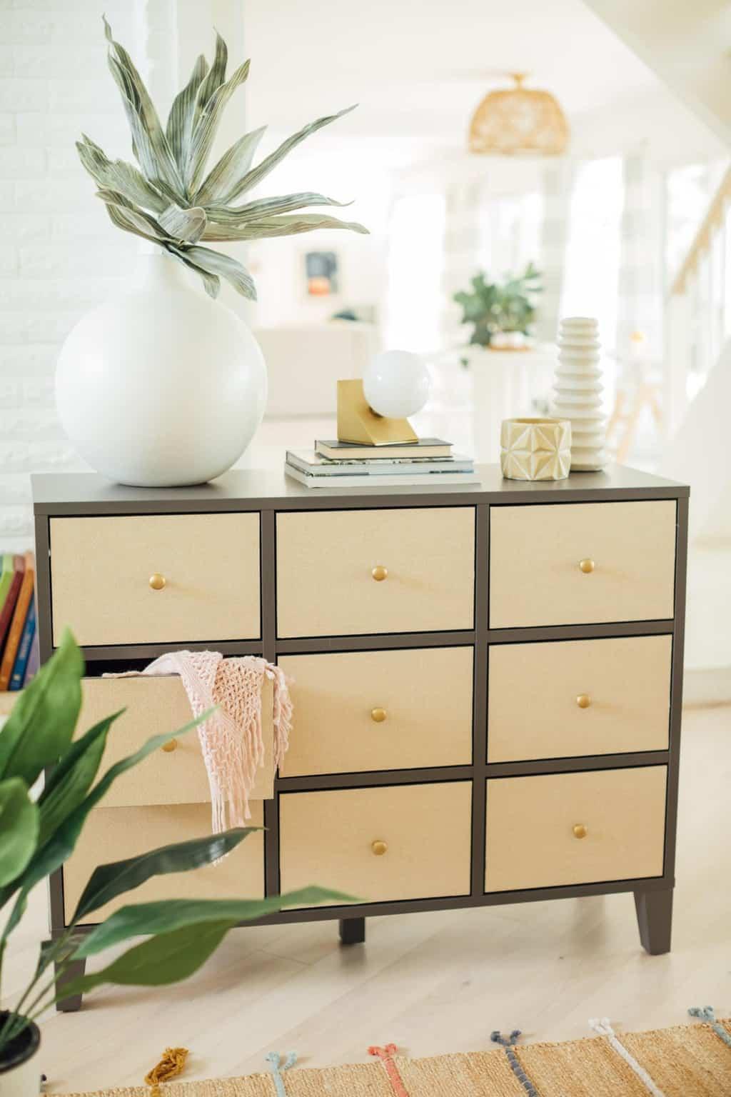 styled ikea drawers in a living room